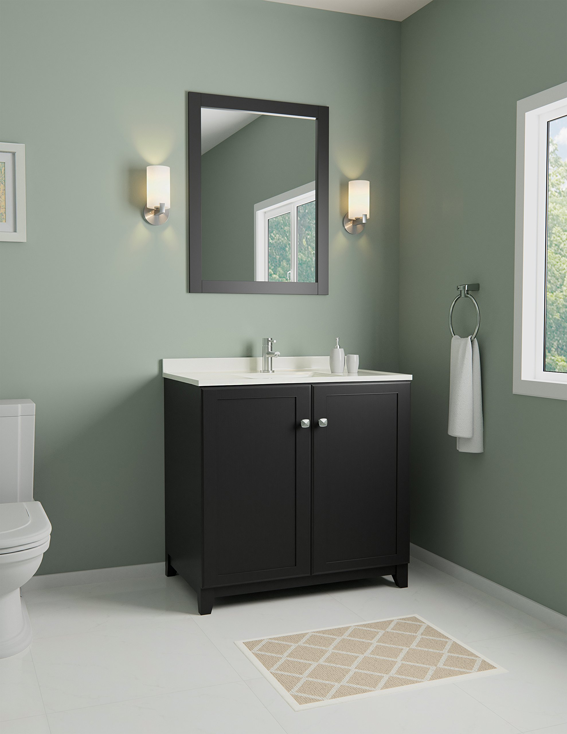 Design House 547000 Shorewood Furniture-Style Vanity Cabinet with 2-Doors, 30-inches by 21-inches, Espresso - 2-door vanity cabinet provides both style and storage space in your bathroom Concealed hinges provide a clean look Dark espresso finish with satin nickel hardware - bathroom-vanities, bathroom-fixtures-hardware, bathroom - 81J1vlqMU2L -