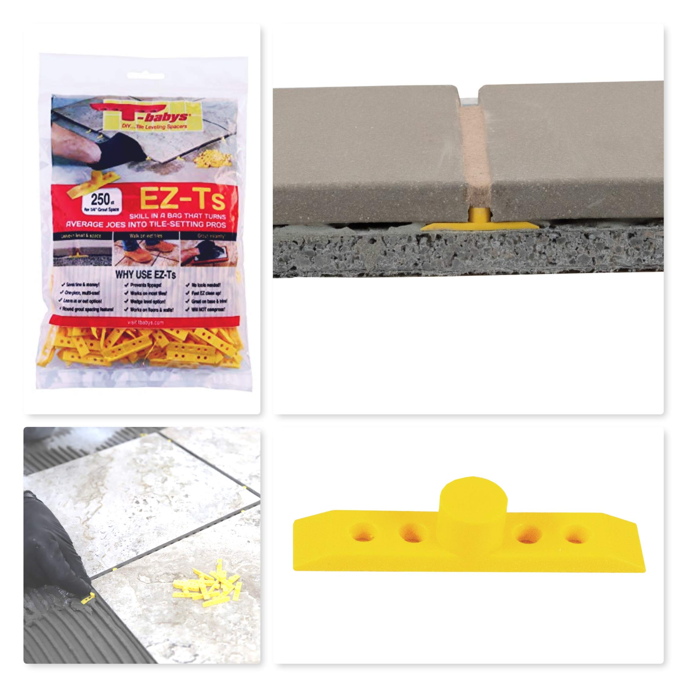 Tbabys - EZ-Ts DIY Leave-in Tile Leveling Grout Spacers 1/4'' - 250ct