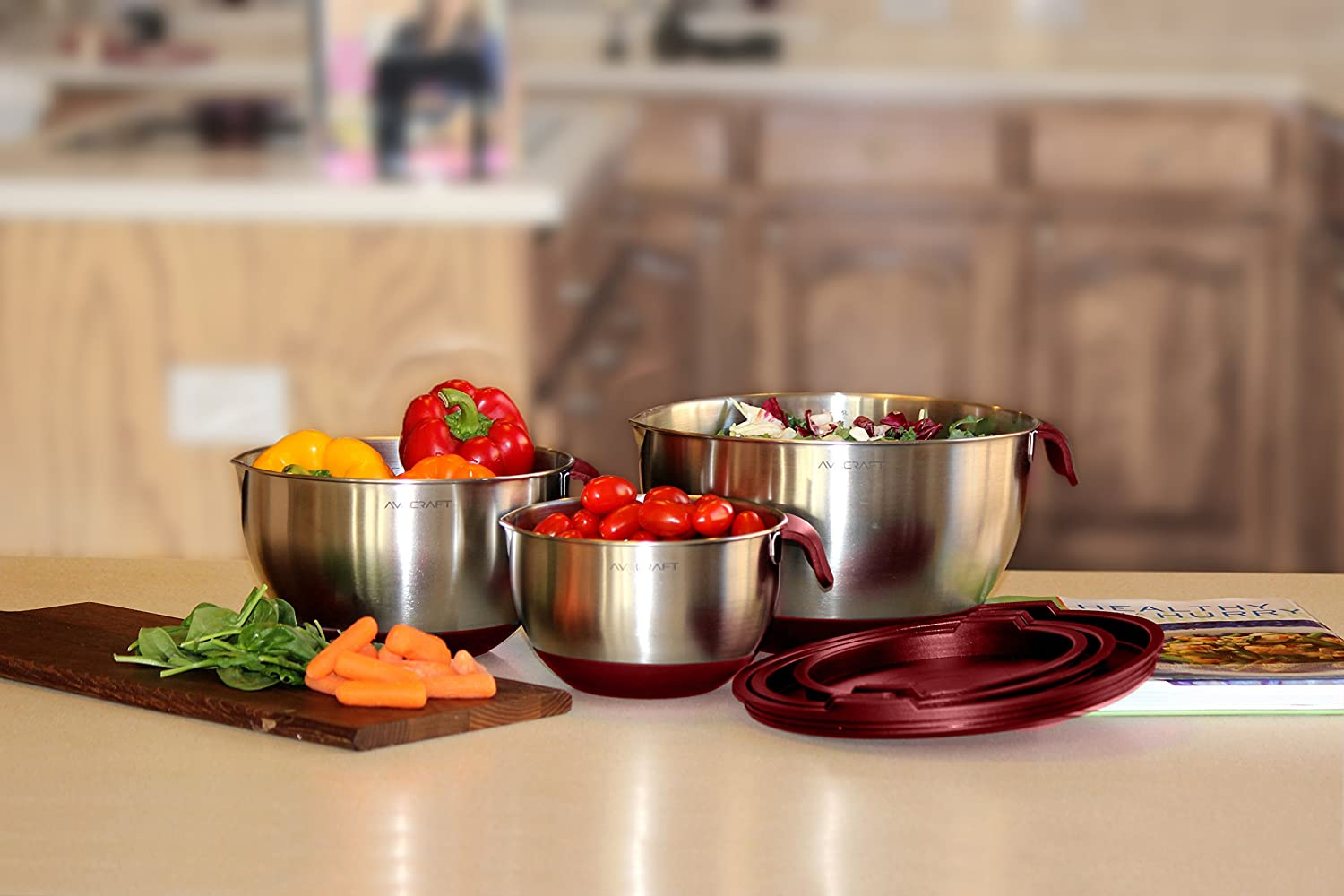 non slip silicone base bowls with Handle Home Essentials Cooking Bowls, Red Mixing Bowl Set with Pour Spouts /& Measurement Marks AVACRAFT 18//10 Top Rated Stainless Steel Mixing Bowls with Lids