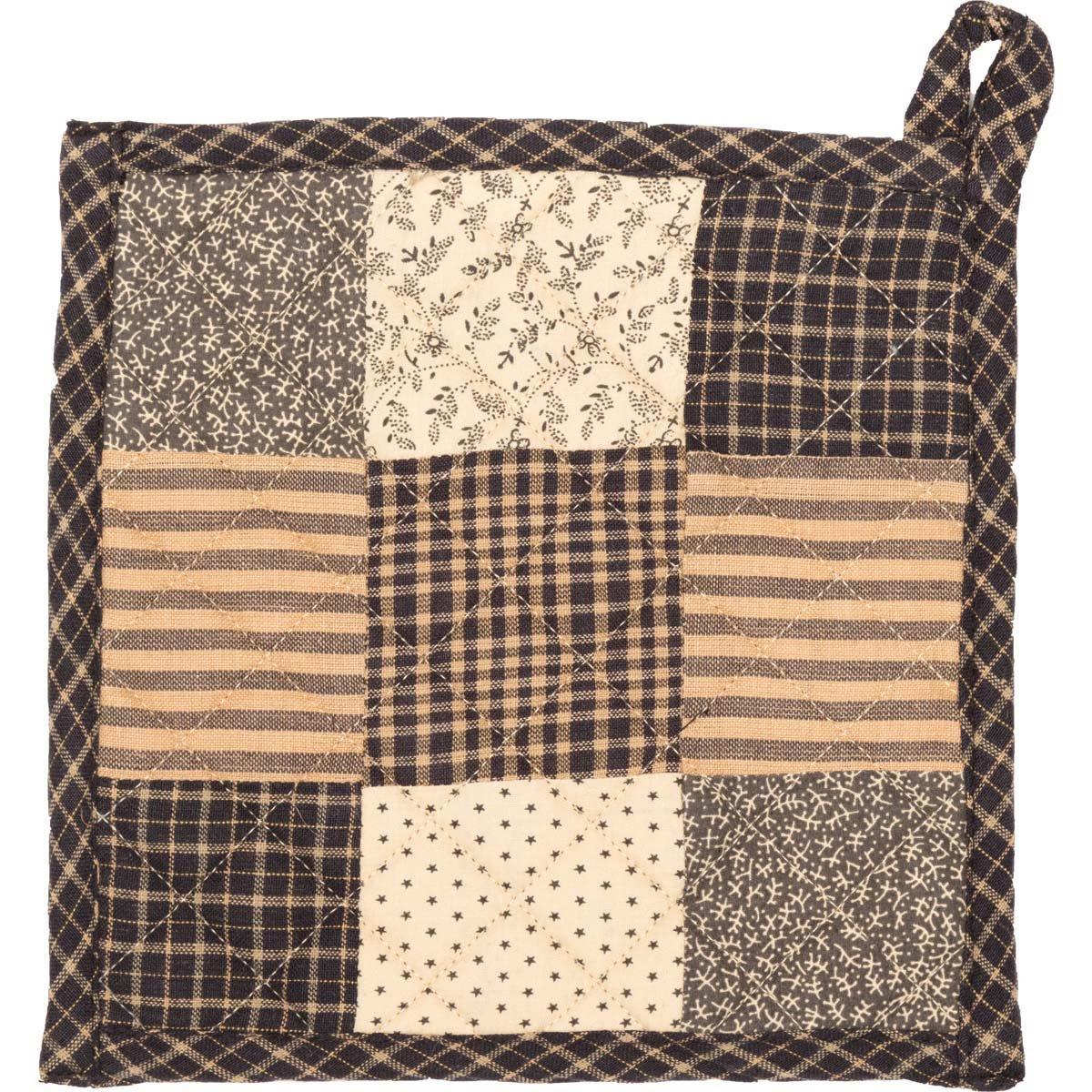 VHC Brands Primitive Tabletop Kitchen Prim Grove Fabric Loop Cotton Patchwork Pot Holder One Size 7186