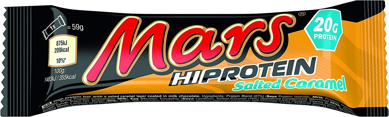 Mars Hi Protein Salted Caramel Bar (12 x 59g) - High Protein Energy Snack with Salted Caramel, Nougat and Real Milk Chocolate - Contains 20g Protein: Amazon.co.uk: Health & Personal Care