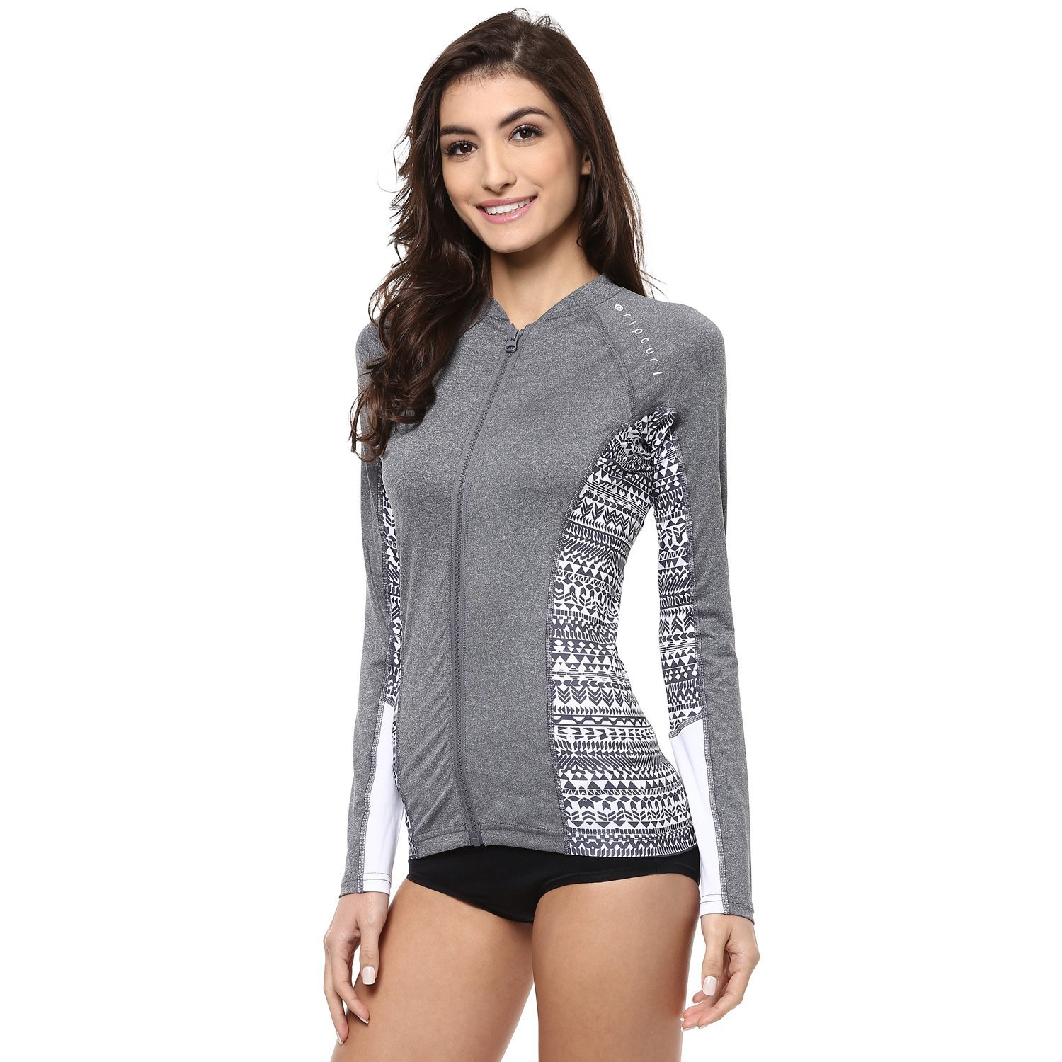 Rip Curl Women's Trestles Long Sleve Front Zip 50+ UPF Sun Protection Rash Guard RPC-WLUGXW-CHA-XS