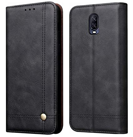 new styles 52de3 f6fc5 Cubix Magnetic Flip Cover for Oneplus 6T & One Plus 6T Leather Case Wallet  Slim Folio Book Cover with Inside Shock Proof TPU Back Case Cover - Black