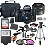 Canon EOS M50 Mirrorless Digital Camera (Black) with 15-45mm STM Lens + Deluxe Accessory Bundle Including Sandisk 32GB Card,
