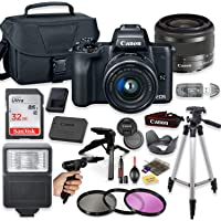 """Canon EOS M50 Mirrorless Digital Camera (Black) with 15-45mm STM Lens + Deluxe Accessory Bundle Including Sandisk 32GB Card, Canon Case, Flash, Grip Multi Angle Tripod, 50"""" Tripod, Filters and More."""