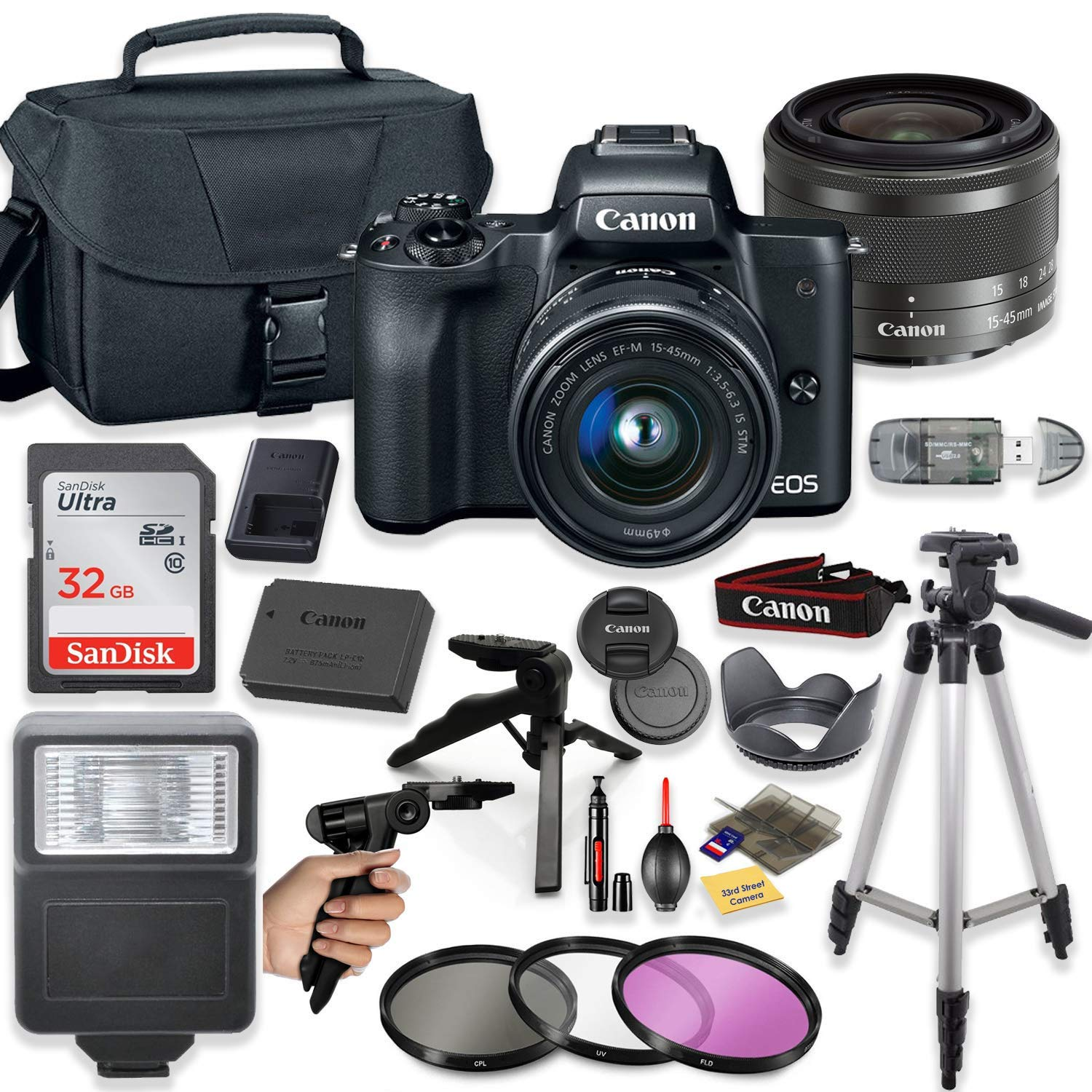 Canon EOS M50 Mirrorless Digital Camera (Black) with 15-45mm STM Lens + Deluxe Accessory Bundle Including Sandisk 32GB Card, Canon Case, Flash, Grip Multi Angle Tripod, 50'' Tripod, Filters and More. by Canon