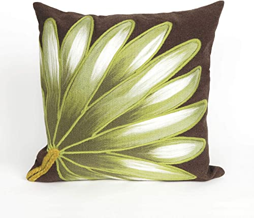 Liora Manne Mystic II Victory Flower Indoor Outdoor pillow, Chocolate – 20 Square