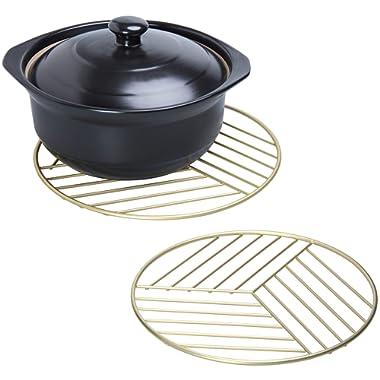 MyGift Geometric Brass Metal Wire Pot Trivet Pads, Set of 2