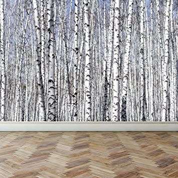 Wall Mural White Birch Trees, Peel And Stick Repositionable Fabric  Wallpaper For Interior Home Decor
