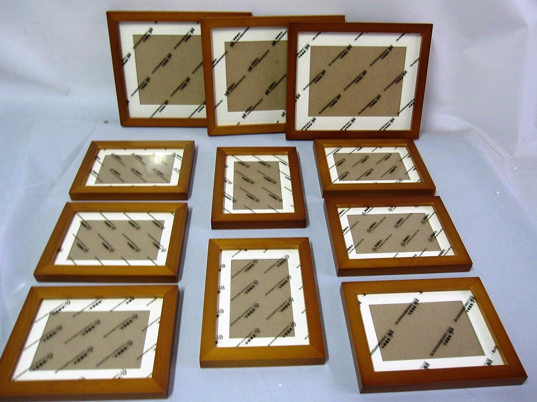 壁掛けウッドフォトフレーム 木製フォトフレーム 11個セット (ブラウン) B016D4DRX8 ブラウン ブラウン
