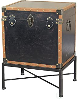Attirant Vintiquewise QI003273L Faux Leather Trimmed Square Storage Trunk, End Table  On Metal Stand