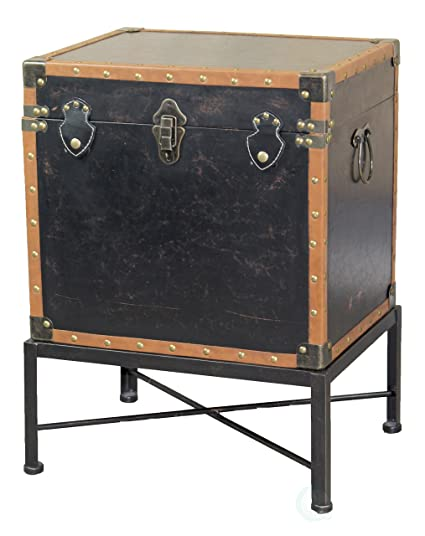 Delightful Vintiquewise QI003273L Faux Leather Trimmed Square Storage Trunk, End Table  On Metal Stand