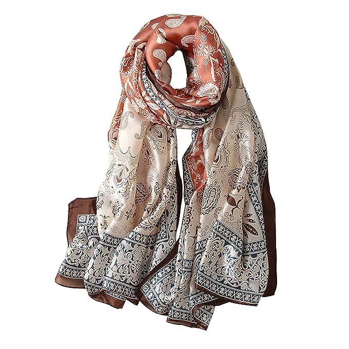 ac2c05483 Alice Women Classy Silk Paisley Print Long Scarf Shawls Wraps Burgundy