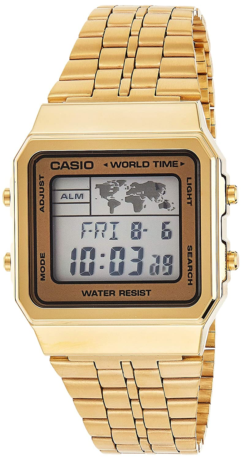 CASIO Men s Digital World TIME A500WGA-9DF Stainless Steel Watch