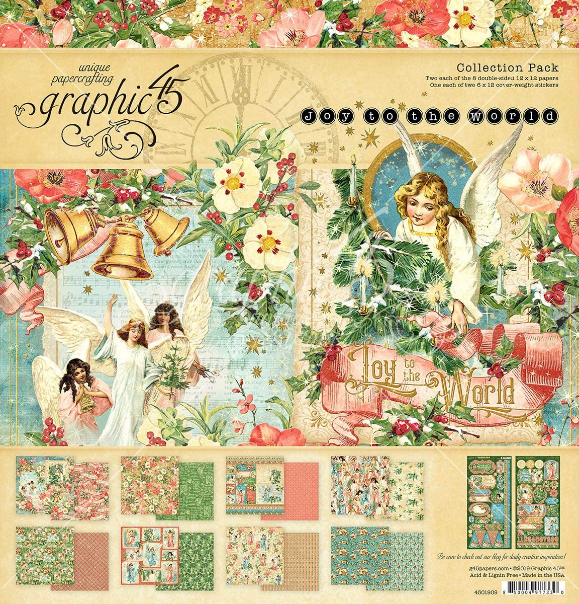 Graphic 45 JOY TO THE WORLD 8 Sheets 12x12 Paper Collection Christmas Tags Cards