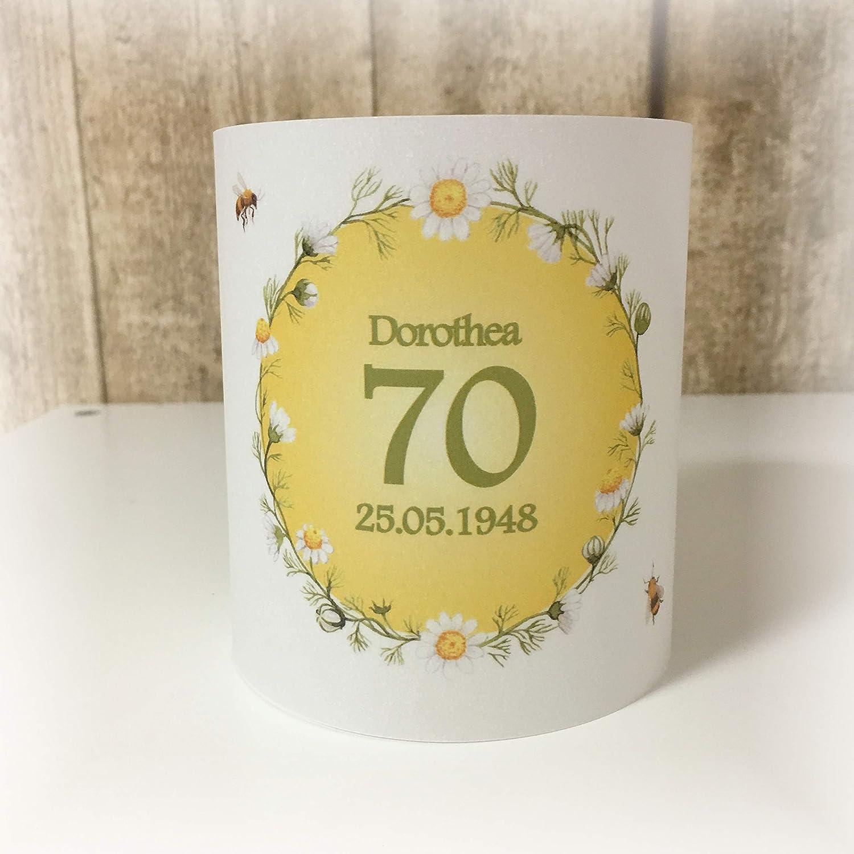 4er Set Tischlicht Tischlichter Blumen Bienen runder Geburtstag 40 50 60 70 80 90 Tischdeko personalisierbar grün gelb
