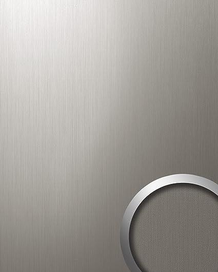 Panel decorativo autoadhesivo resistente WallFace 12431 DECO al rallado aspecto metal cepillado titanio 2,60