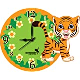 Hoopoe Decor Cute Little Tiger Kids Acrylic Wall Clock (30 cm x 0.4 cm x 24 cm, Multicolour)