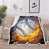 A Nice Night Baseball Print Sherpa Fleece Blanket Twin Size Plush Throw Blanket Fuzzy Soft Blanket Microfiber (Baseball…