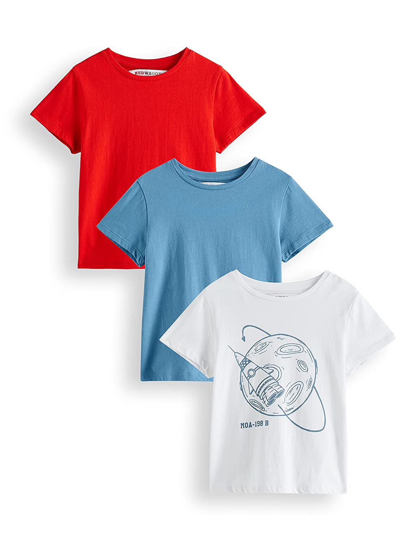 RED WAGON Jungen T-Shirt mit Raketen-Print im 3er Pack