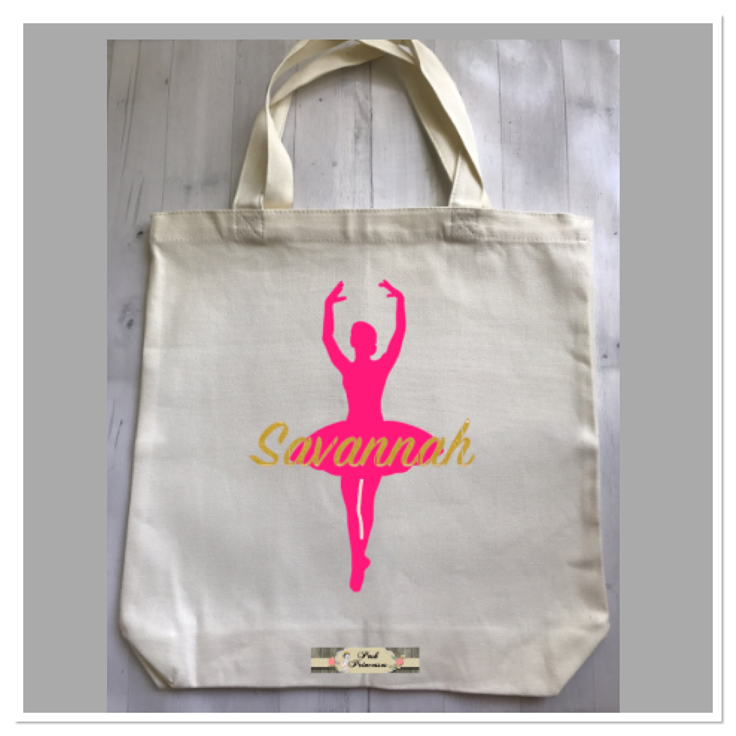 Personalized Ballet Dance Bag, Ballerina Bag, Dance Gift. Canvas Tote Girl Gift by Custom Bow Holders & More (Image #1)