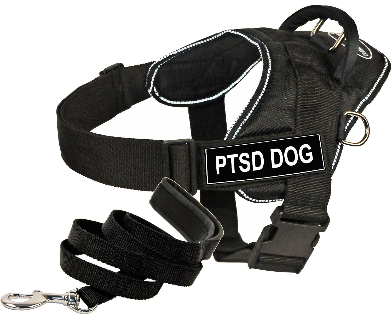 Dean & Tyler DT Fun Works Harness 6-Feet Padded Puppy Leash, PTSD Dog, Large, Black
