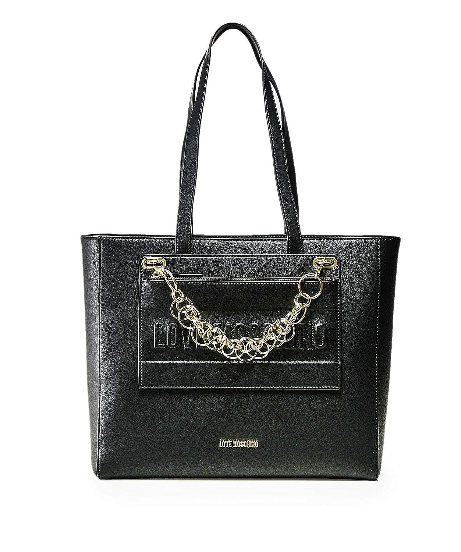 Love Moschino Moschino Donna catena dettaglio shopper borsa Nero