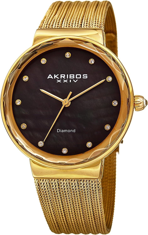 Akribos XXIV Mujer de Cuarzo Diamante y Negro nacarado de malla fina de color Dorado Reloj De Pulsera–ak1009ygb