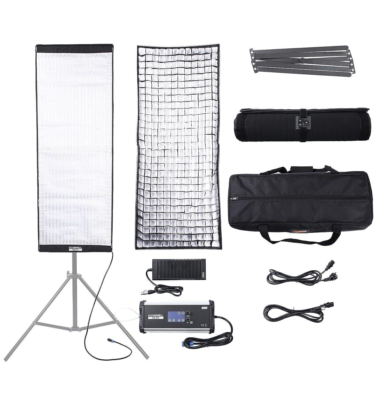 SOONWELL 巻き取り可能なカメラライト 250W 3000K-5600K ビデオライト 照明 撮影用 LED 2色色温度 定常光ライト ビデオ 写真撮影 (FB-415) FB-415  B07JM4SRTW