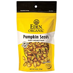 Eden Organic Pumpkin Seeds, Dry Roasted, 4-Ounce Resealable Bags (Pack of 15)