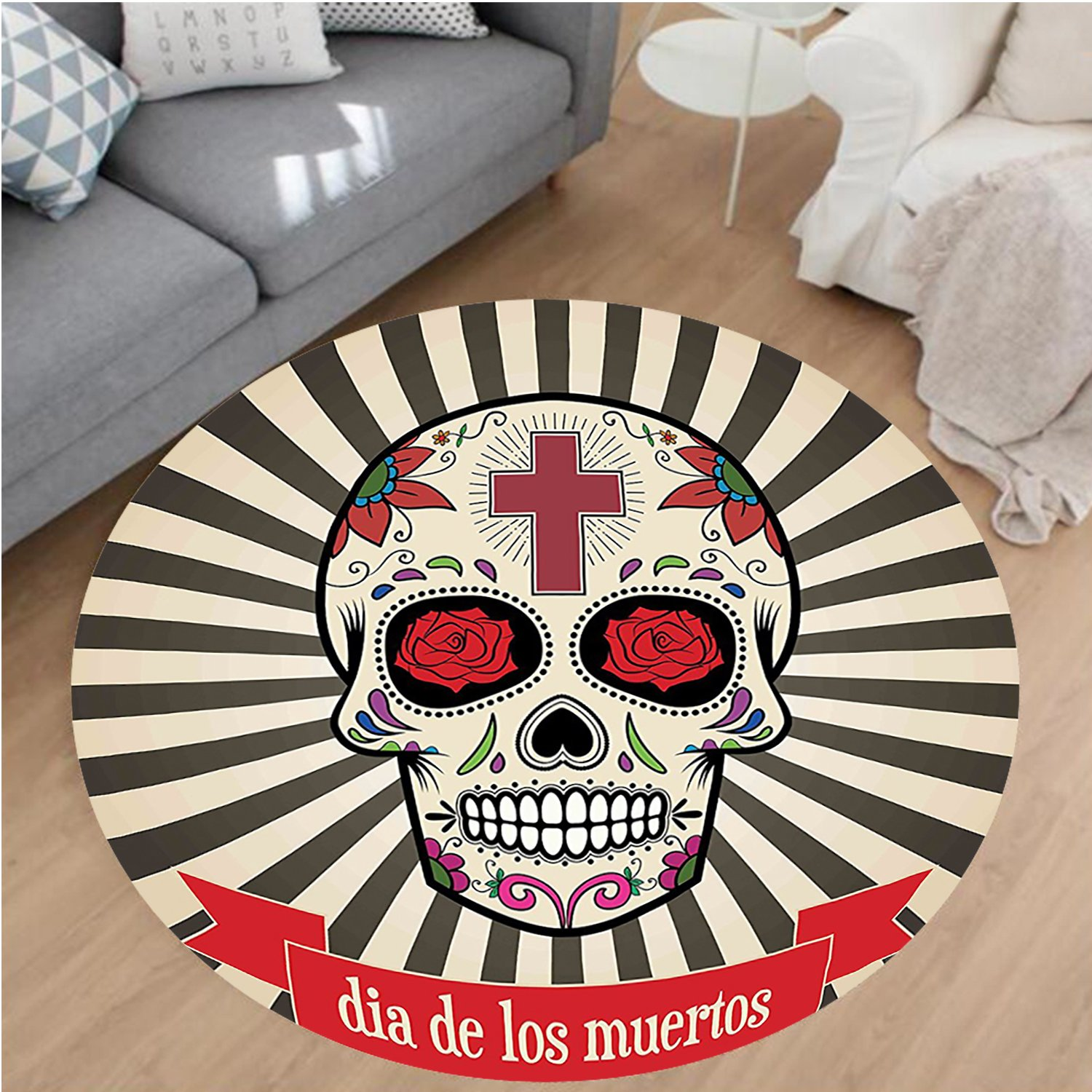 Nalahome Modern Flannel Microfiber Non-Slip Machine Washable Round Area Rug-Dead Decor Floral Sugar Skull with Christian Cross on Sunburst Pattern Grey Beige and Red area rugs Home Decor-Round 79'' by Nalahome