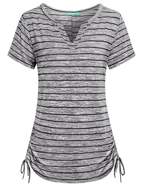 e215ea4e771 Kimmery Womens Notch V Neck Short Sleeve Loose Fit Drawstring Side ...