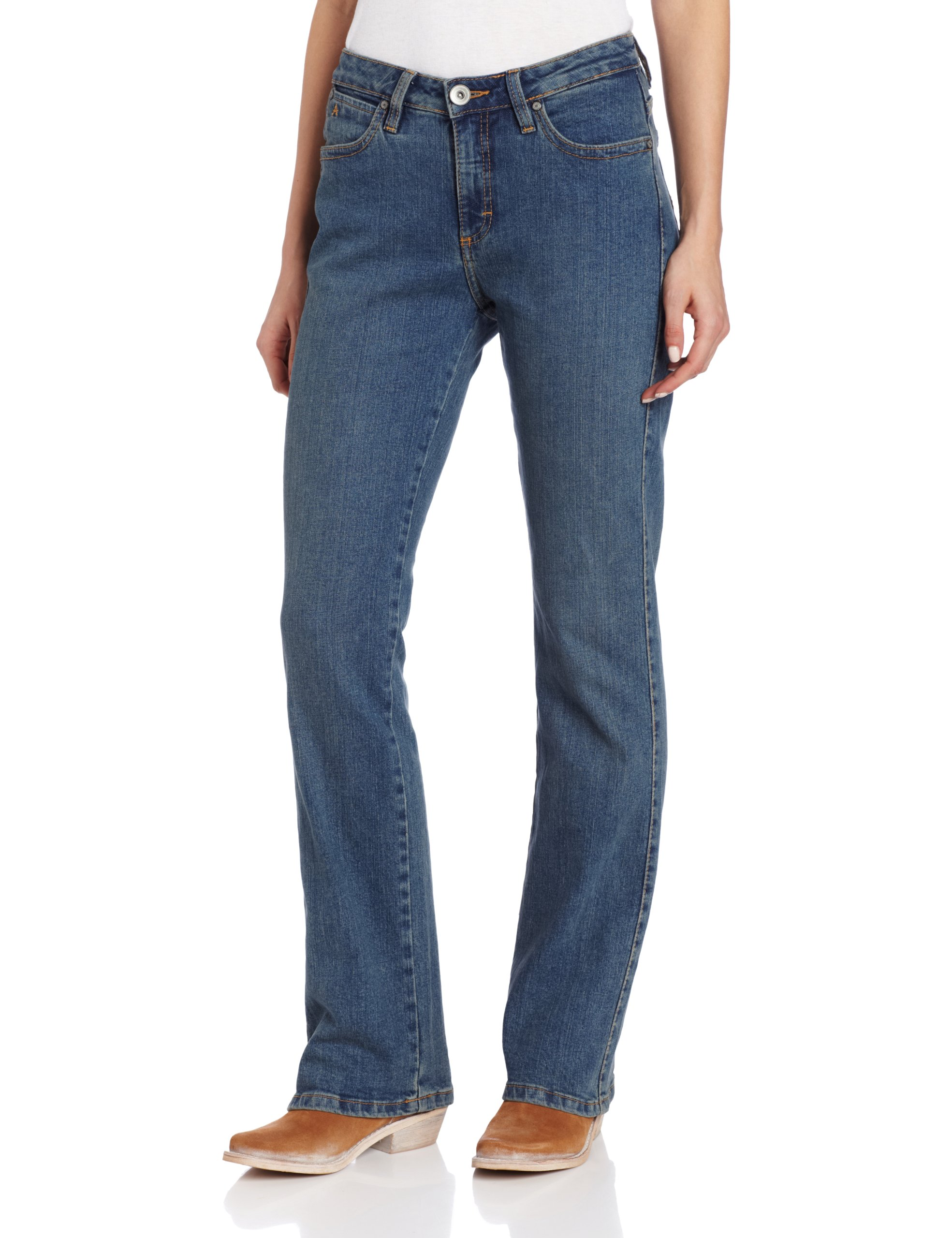 Wrangler Women's Aura Instantly Slimming Jean, Tinted Mid-Stone, 10 Avg