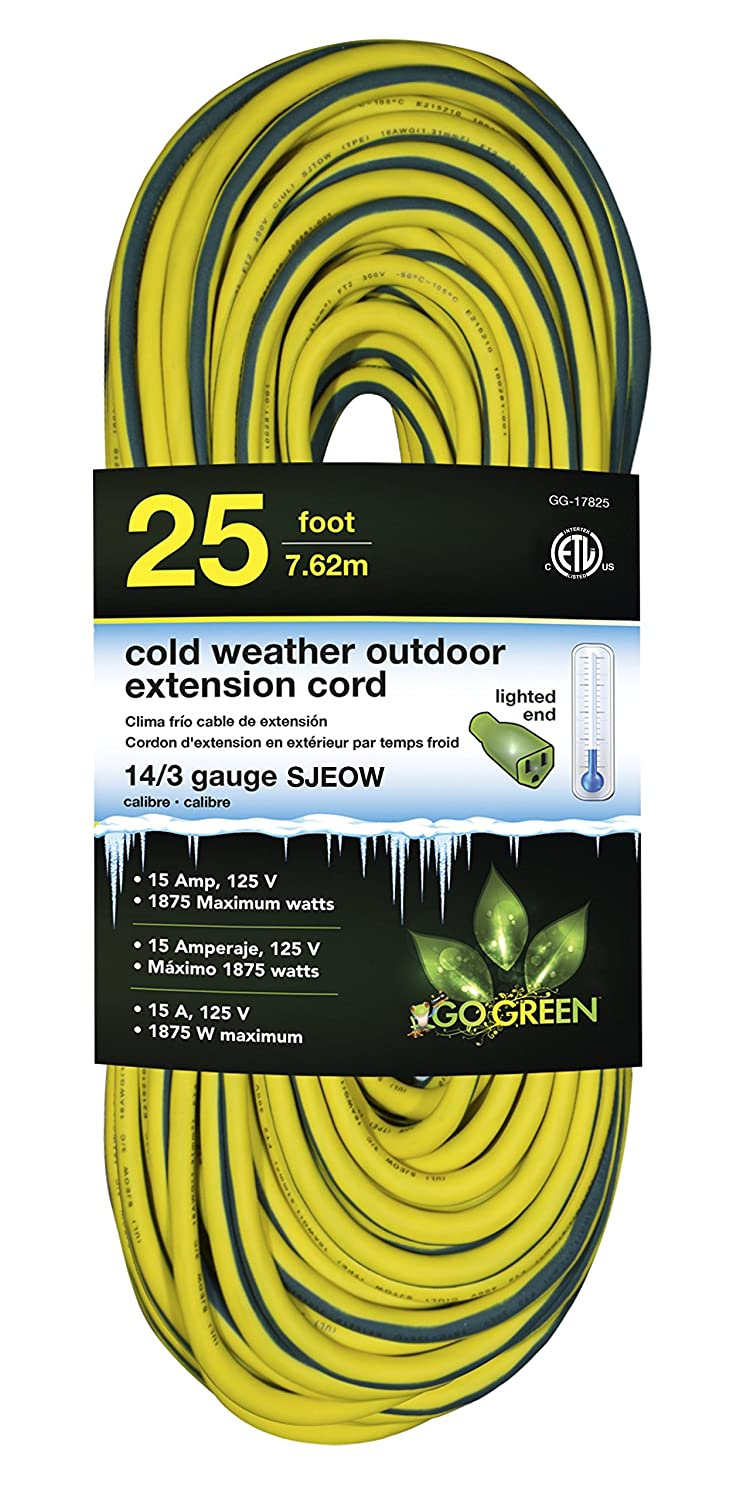 Perfpower Go Green Power GG-17825 14/3 SJEOW Cold Weather Extension Cord, 25-Feet, Yellow GoGreen Power