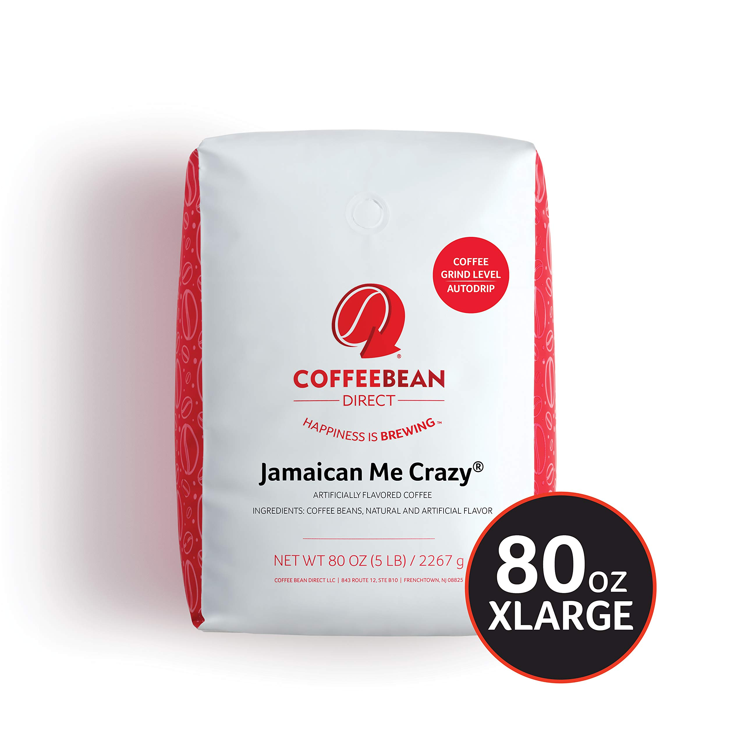 Coffee Bean Direct Jamaican Me Crazy Flavored, Ground Coffee, 5 Pound Bag