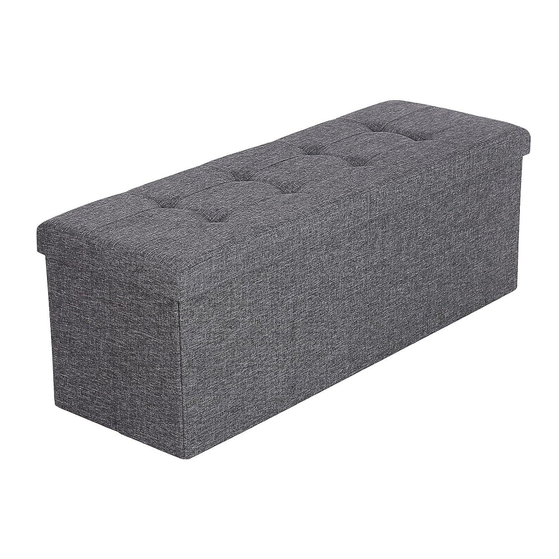 Cheap songmics banc coffre de rangement pouf pliable grand pour personnes tissu en lin gris x x - La maison du rangement ...