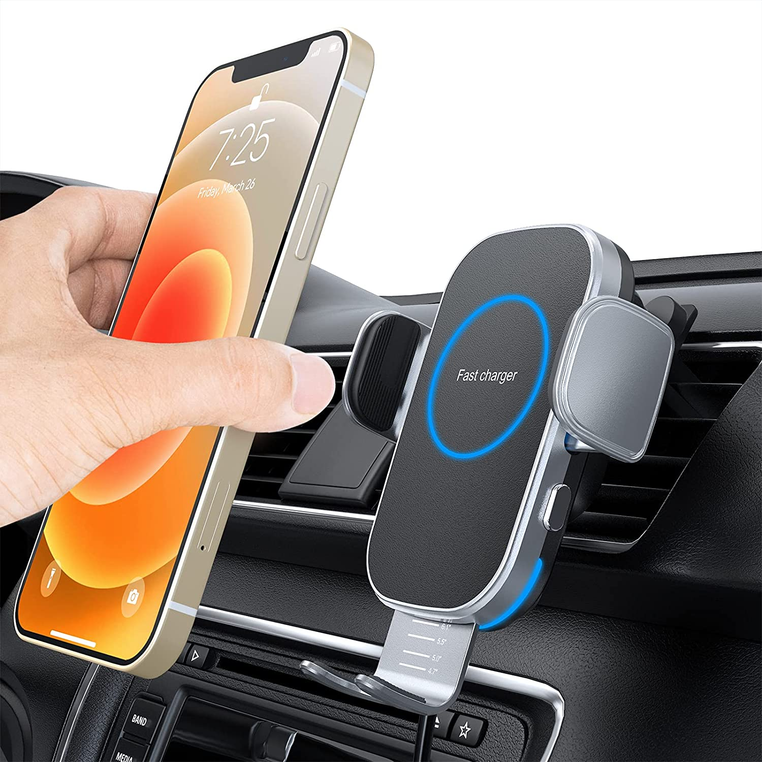 Car Wireless Charger, 15W Auto-Clamping Car Charger Mount, Air Vent Car Charging Holder for iPhone 12/12 Pro/ 11/11 Pro/Xr/Xs Max/Xs/X/8, Samsung S21/S20 /S10/S9/Note10/Note9 (with QC3.0 Car Charger)