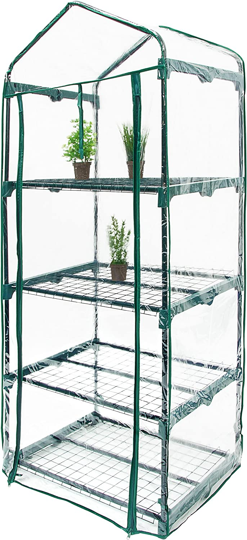 transparent Relaxdays Anzucht Gew/ächshaus mit 4 Ablagen 156 x 70 x 50 cm HxBxT Balkon Foliengew/ächshaus platzsparend