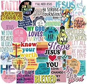 50 Pcs Jesus Christian Stickers Faith Wisdom Words Decals for Water Bottle Hydro Flask Laptop Luggage Car Bike Bicycle Waterproof Vinyl Stickers Pack