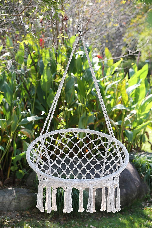 AGL Tlink Hamaca Hecha a Mano, Columpio para Adultos, Interior, Exterior, jardín, Patio, Patio, Dormitorio (Capacidad de Carga 120 kg), Blanco: Amazon.es: Jardín