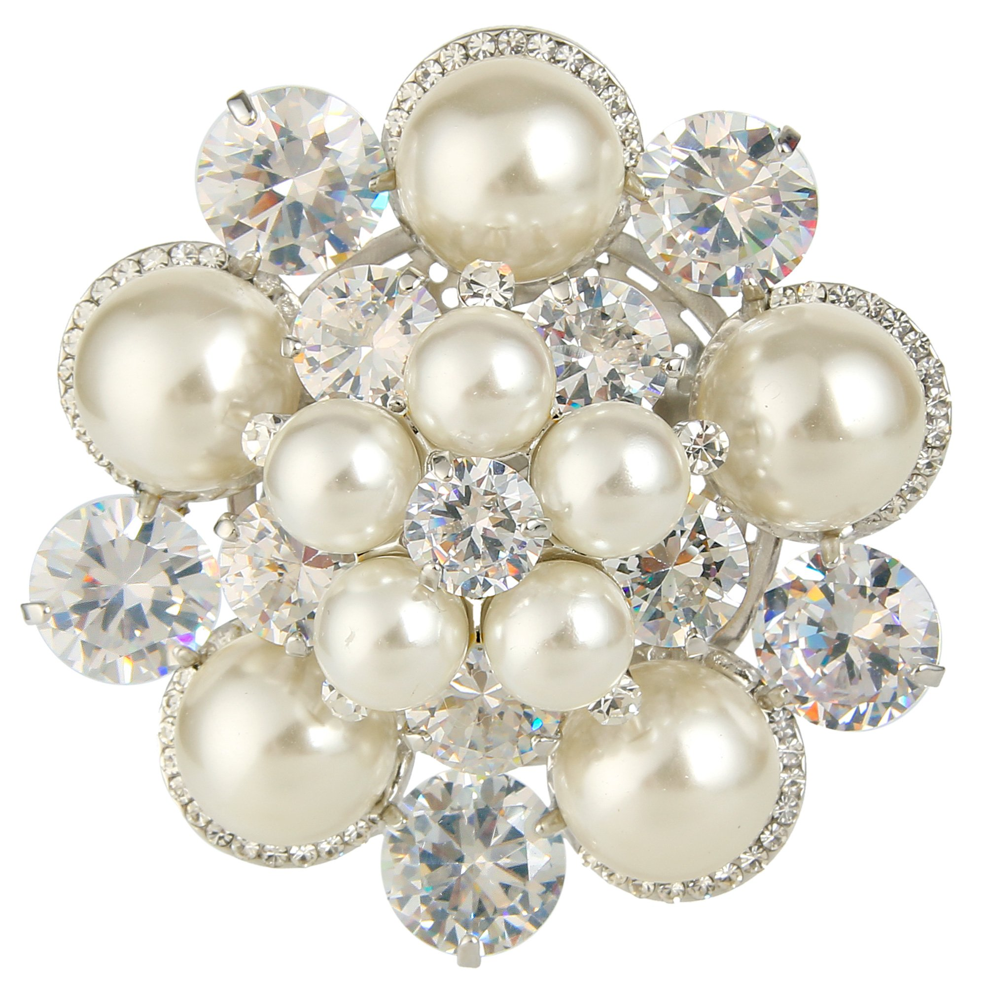 EleQueen Women's Silver-tone Cubic Zirconia Cream Simulated Pearl Winter Snowflake Christmas Brooch Clear