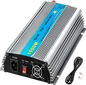 VEVOR Grid Tie Solar Inverter, 1000W MPPT Power Inverter, 50/60 Hz Solar Grid Tie System, Grid Tie Inverter, DC10.8-30V Input to AC170-260V Output Wind Turbine Grid Tie Inverter for Solar Panel System