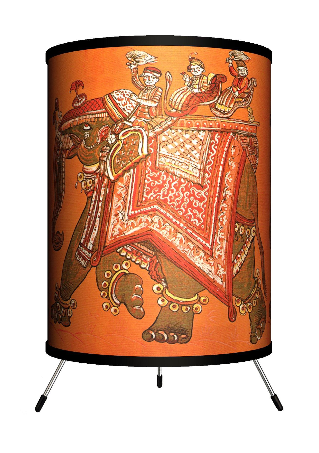 Lamp-In-A-Box TRI-VAR-INDIA Various - India Design Tripod Lamp, 8'' x 8'' x 14''
