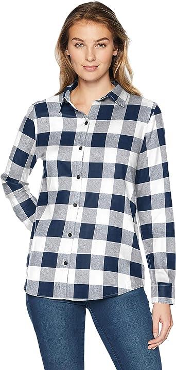 Amazon Essentials - Camisa de franela a cuadros, ligera, de manga larga, corte clásico