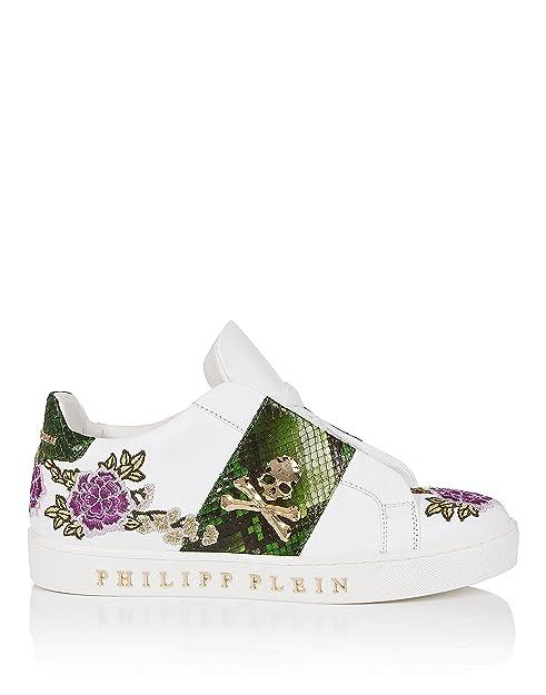 PHILIPP PLEIN - Zapatillas de Piel para mujer Blanco Bianco Blanco Size: 36: Amazon.es: Zapatos y complementos