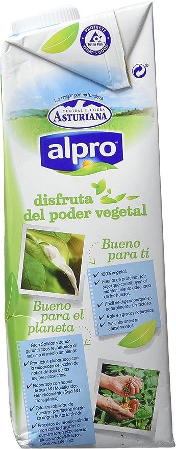 Alpro Central Lechera Asturiana Bebida de Soja Ligera Calcio - Paquete de 6 x 1000 ml - Total 6000 ml: Amazon.es: Alimentación y bebidas