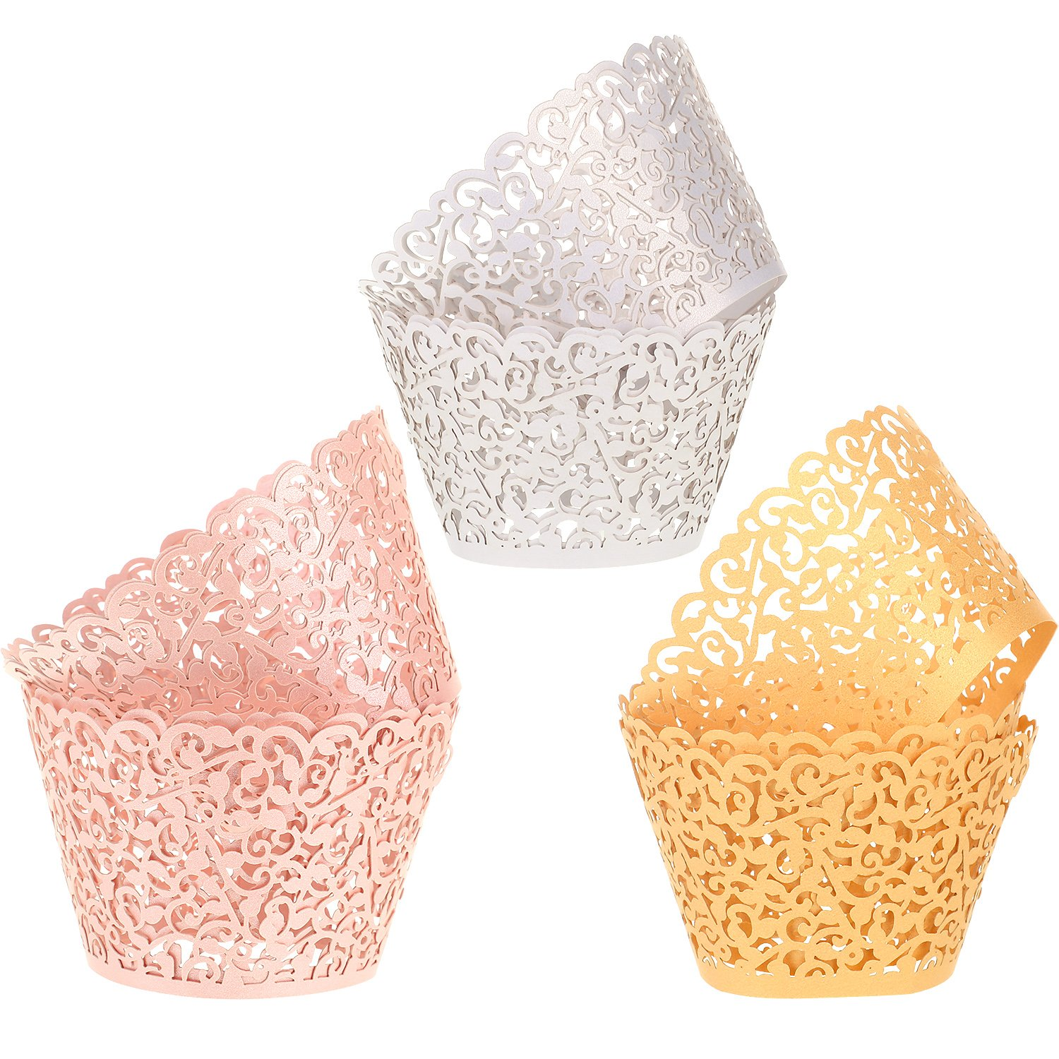 Leinuosen 150 Pieces Cupcake Wrappers Filigree Vine Cupcake Wraps Lace Cupcake Liners for Wedding Birthday Baby Shower Parties Decoration (Gold, White and Pink)