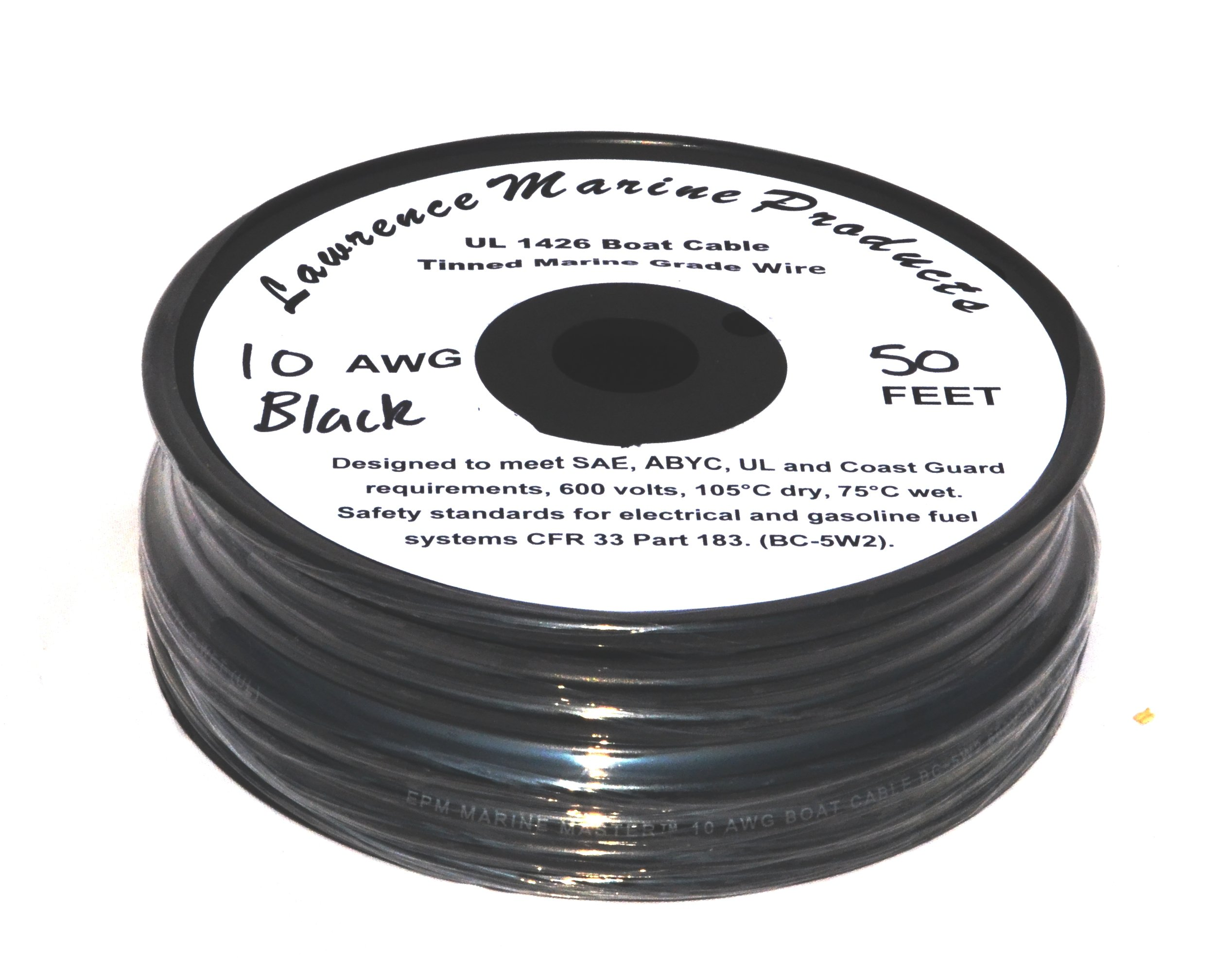 10 AWG Tinned Marine Primary Wire, Black, 50 Feet by Lawrence Marine Products (Image #1)