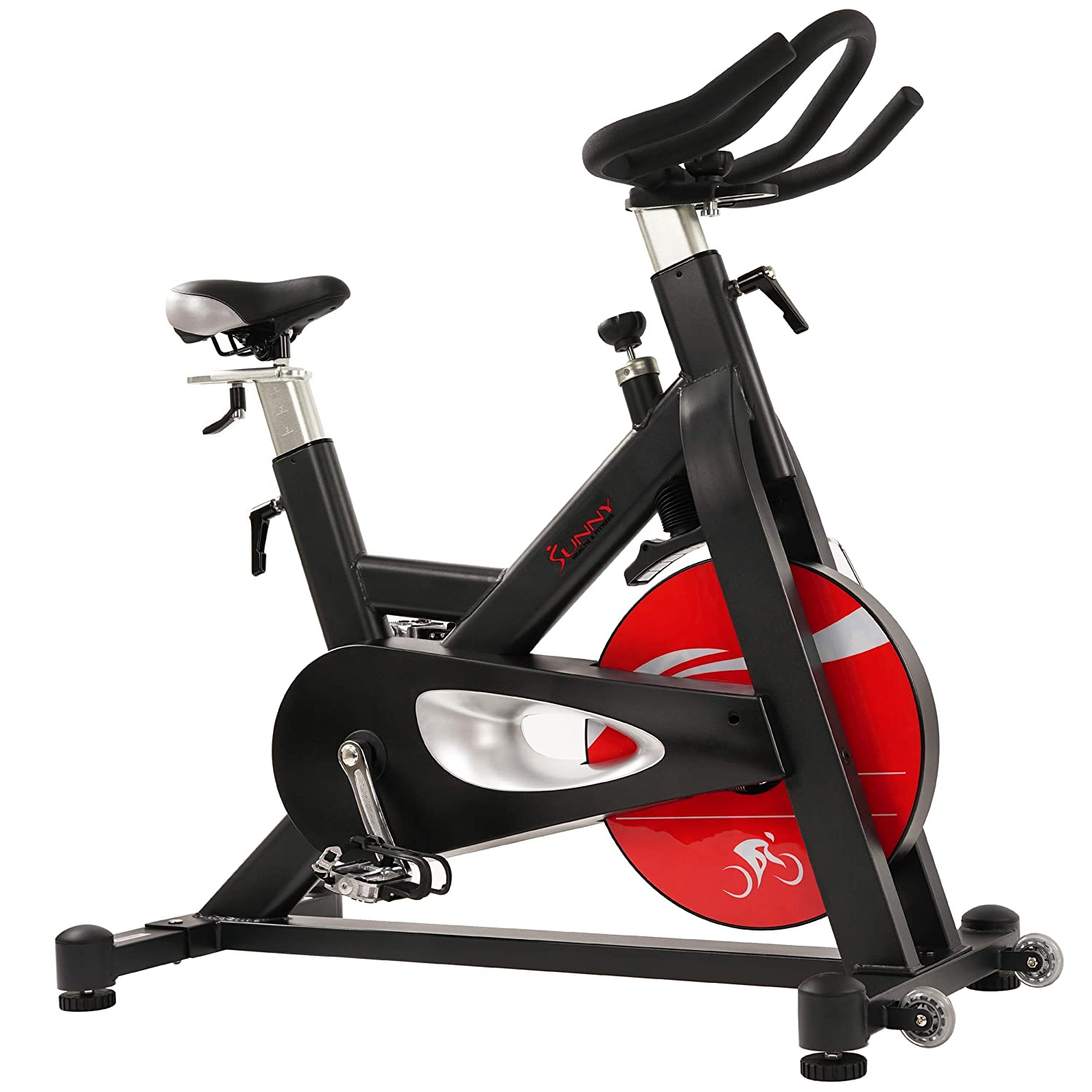 Sunny Health Fitness Evolution Pro Magnetic Belt Drive Indoor Cycling Bike, 330 LB Max Weight, 44 LB Flywheel – SF-B1714