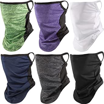 6 Pieces Face Cover Scarf with Ear Loops Unisex Sun UV Protection Face Bandana Neck Gaiters Balaclava for Outdoor Motorcycling